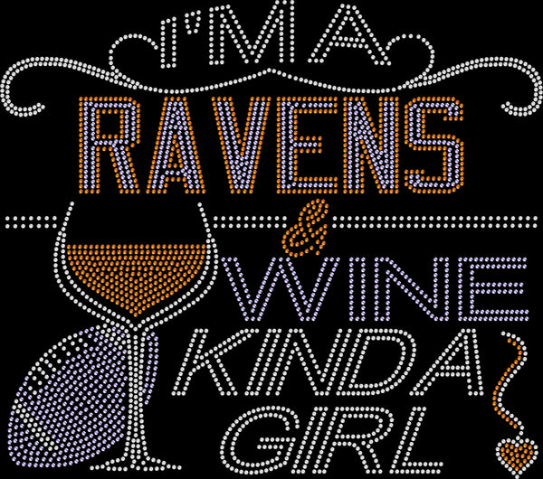 Baltimore Ravens and Wine Rhinestone Tee