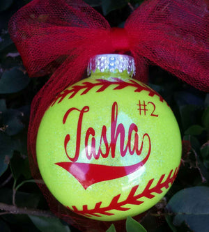 Softball Ornament, Personalized Softball Ornament, Glittered Christmas Ornament, Holiday Ornament