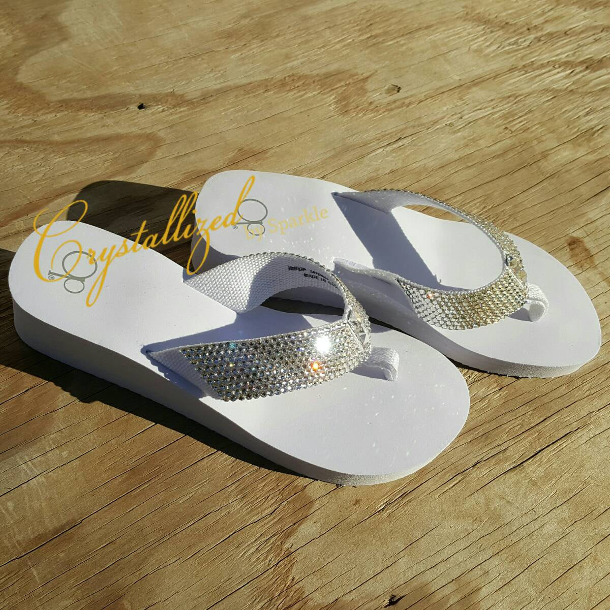 Crystallized Wedge Flip Flops Bling Bling Adorned with Swarovski® Crystals