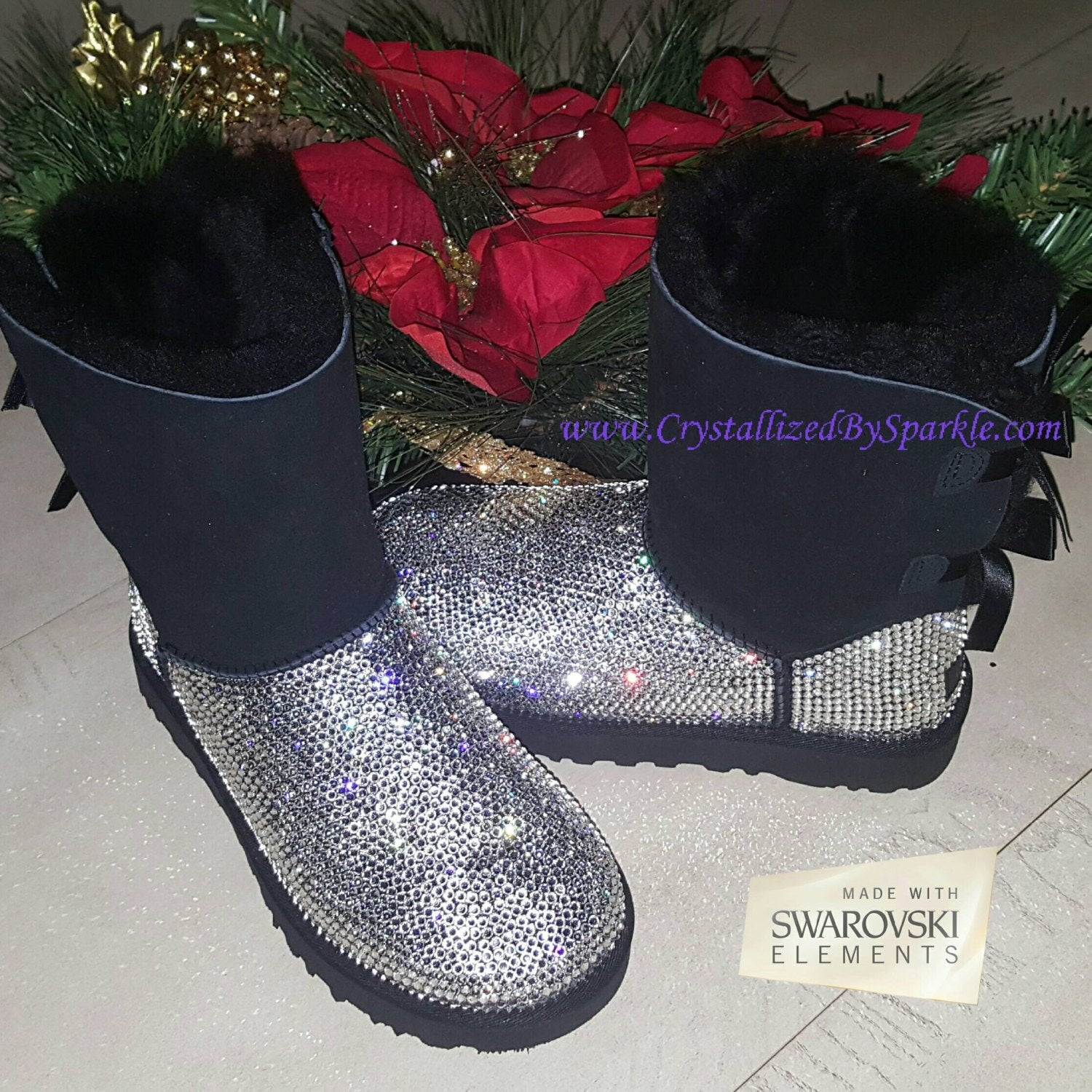 Crystallized Women's Bailey Bow UGG Boots Adorned with Swarovski® Crystals