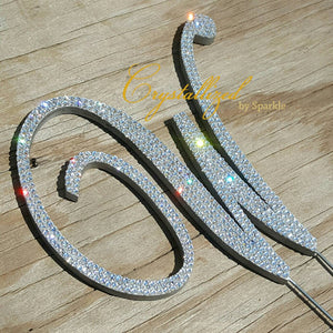 Monogram Cake Topper Any Letter Bridal Birthday Wedding Celebration Adorned with Swarovski® Crystals