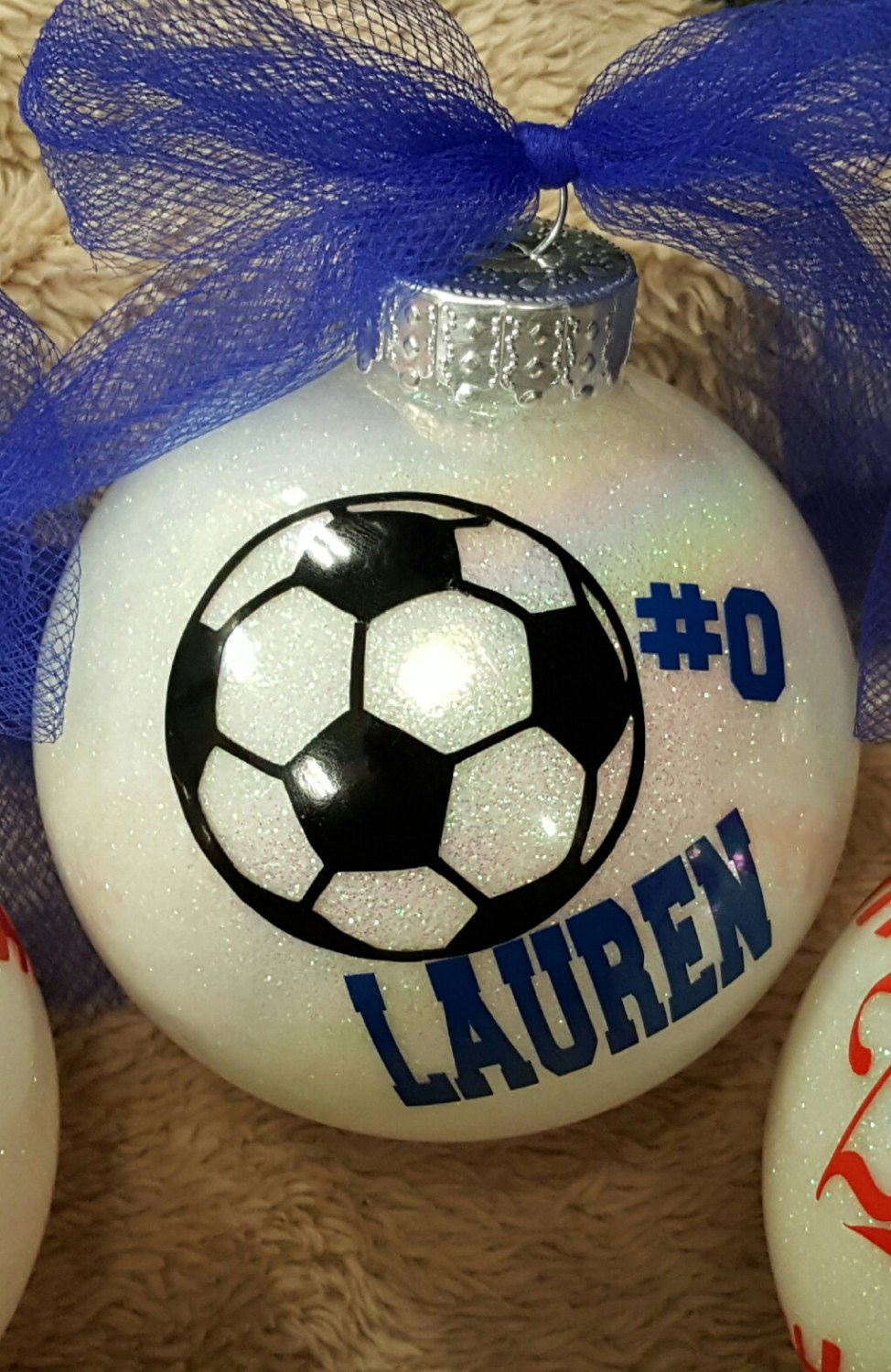 Soccer Ornament, Soccer Christmas Ornaments, Glitter Ornament, Sparkle Ornament, Christmas Ornament, Team Sports Gift