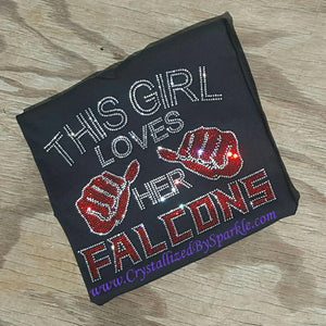 Falcons Inspired Crystallized Bling Bling Rhinestone T-Shirt PLEASE READ DESCRIPTION