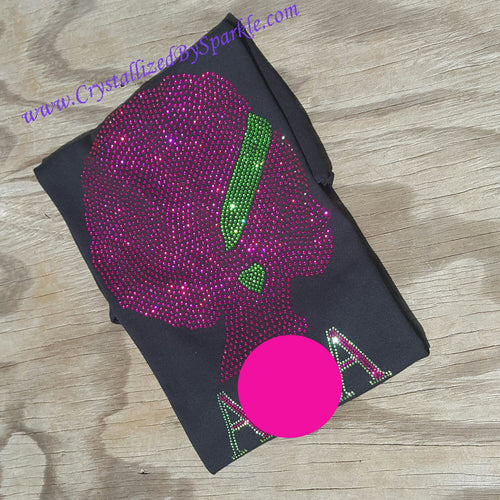 Alpha Kappa Alpha Inspired Afro Lady Crystallized Bling Bling Rhinestone Tee