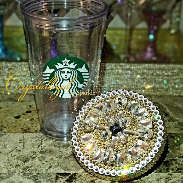Starbucks Cold Reusable Cup Adorned with Chunky Swarovski® Crystals