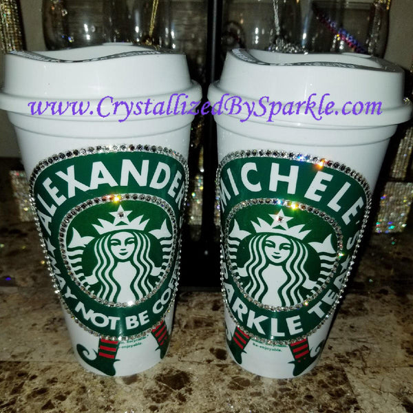 Personalized Starbucks Grande Cup Adorned with Swarovski® Crystals