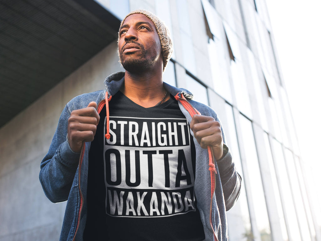 Straight Outta Wakanda Black Panther Grahpic Print T-Shirt