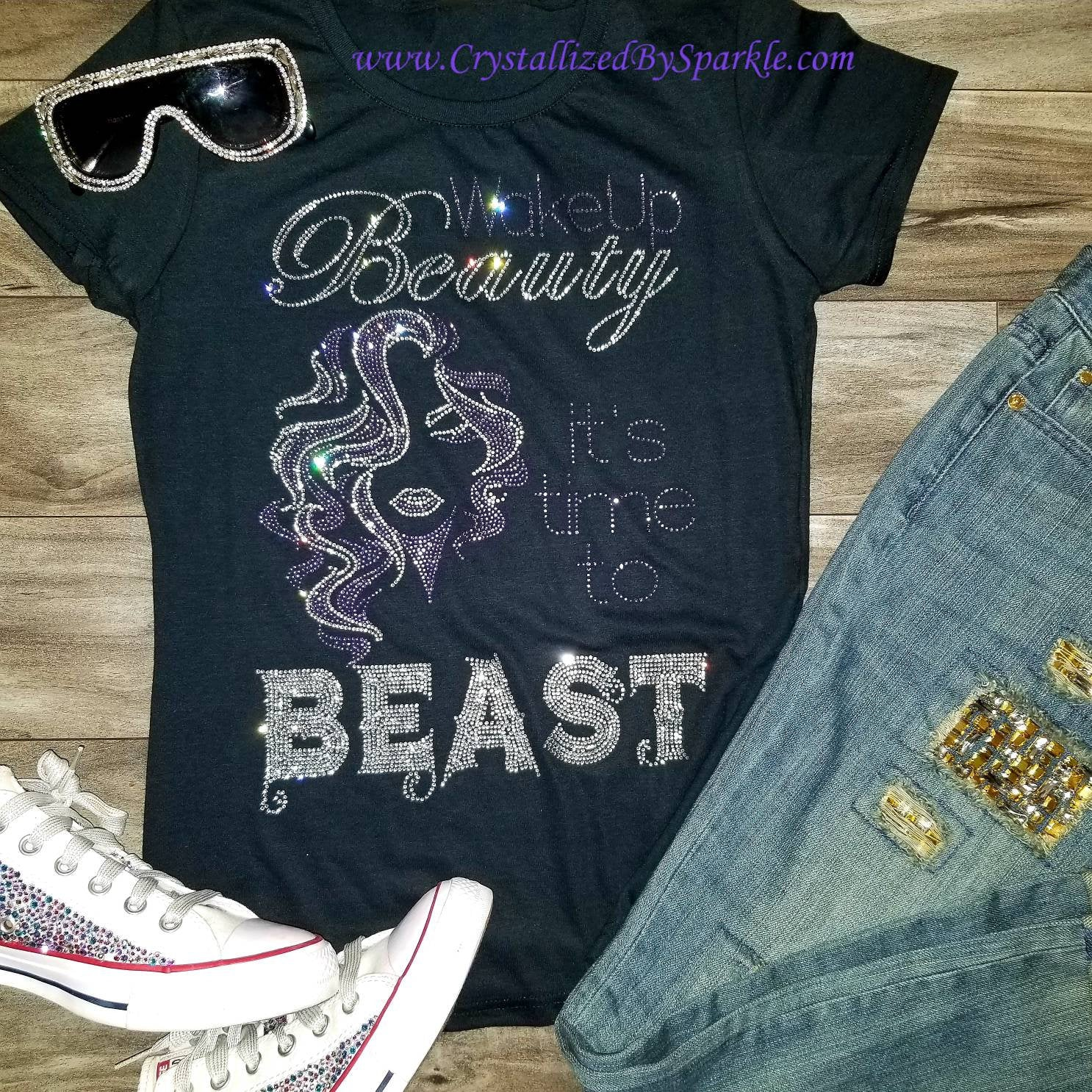 Crystallized Rhinestone Beauty and the Best Bling Bling T-Shirt