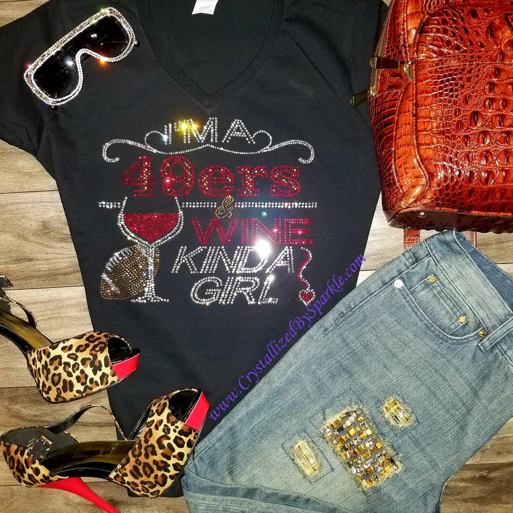 49ers and Wine Rhinestone Tee