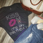 Kiss Me It's My Birthday Crystallized Bling Bling Rhinestone Tee