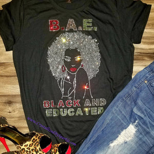 Crystallized Rhinestone BAE Black And Educated Bling Bling T-Shirt