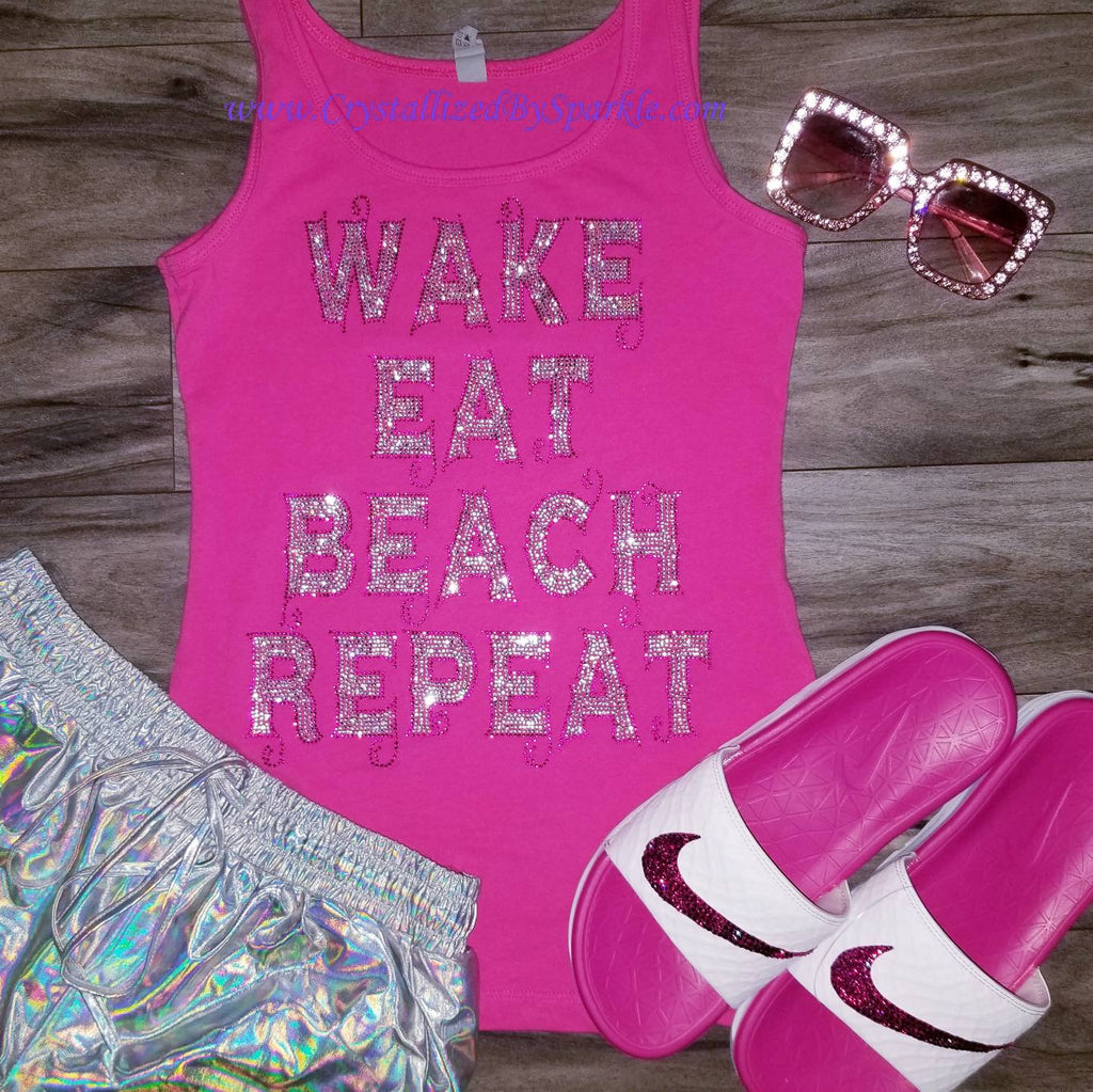 Wake Eat Beach Repeat Crystallized Bling Bling Tank Top