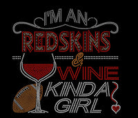 Redskins Inspired Washington Crystallized Bling Bling Rhinestone T-Shirt