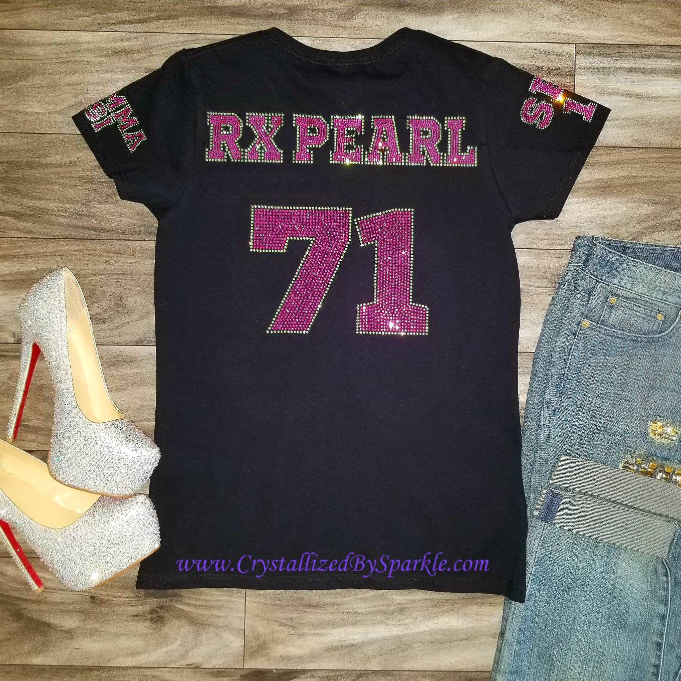 Alpha Kappa Alpha Inspired with Name and Number Crystallized Bling Bling Rhinestone Tee