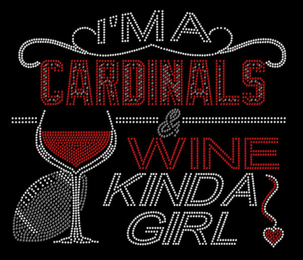Crystal Embellished Arizona Cardinals and Wine Sparkle Rhinestone Shirt