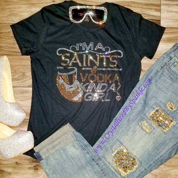 Saints and Vodka Rhinestone Tee