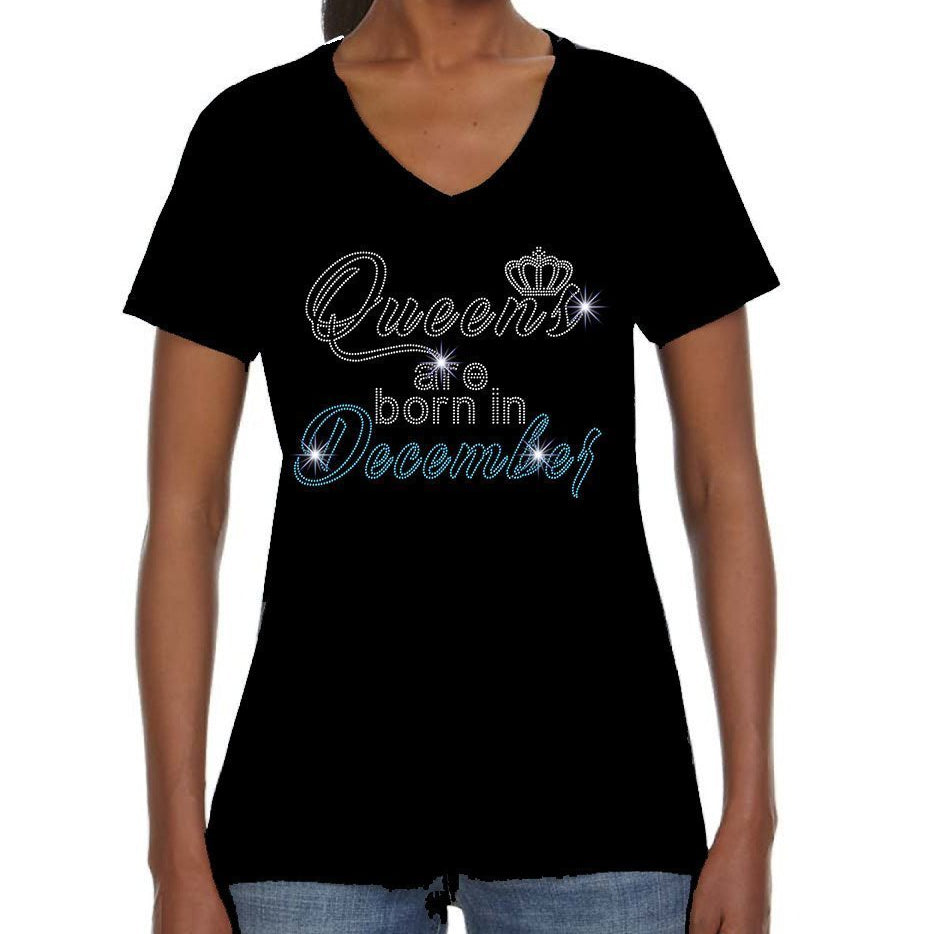 Queens Are Born In December Rhinestone Tee
