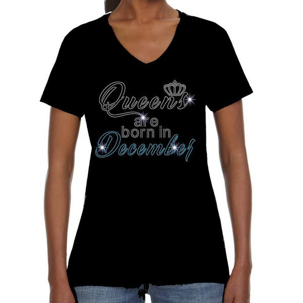 Queens Are Born In December Bling Crystallized Tee