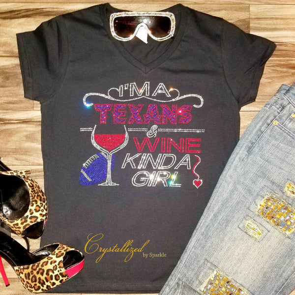 Crystallized Houston Texans and Wine Bling Bling Rhinestone T Shirt