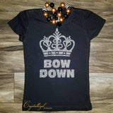 Bow Down Royalty with Crown Glitter Vinyl with Mini Crown on Back Shirt PLEASE READ DESCRIPTION