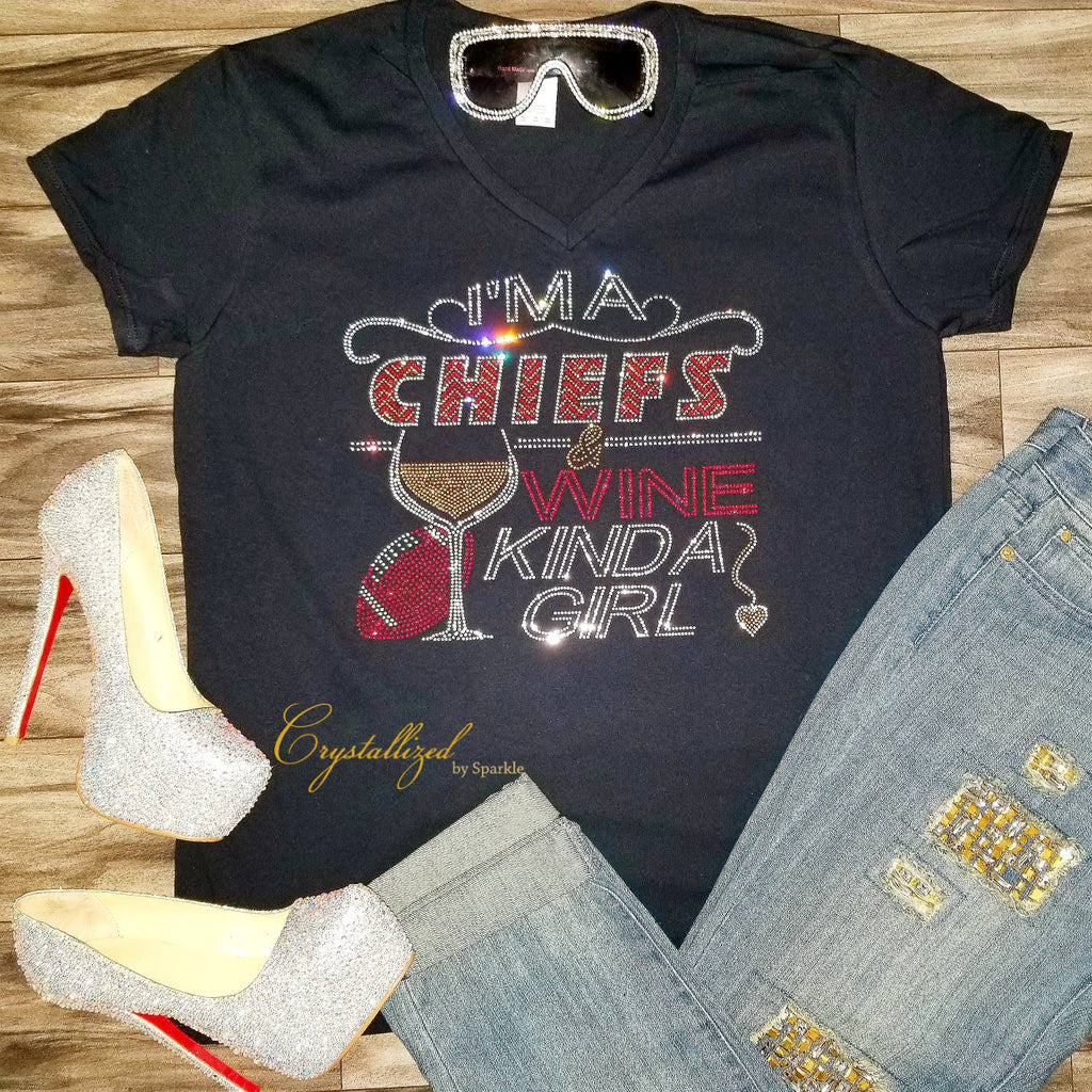 Kansas City Chiefs and Wine Rhinestone Tee