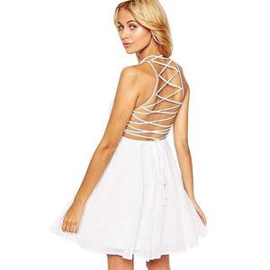 Backless Bandage Dress Women 2017 Summer Sexy Halter Party Cocktail Sleeveless White Chiffon A-Line Mini Dress - Pinked
