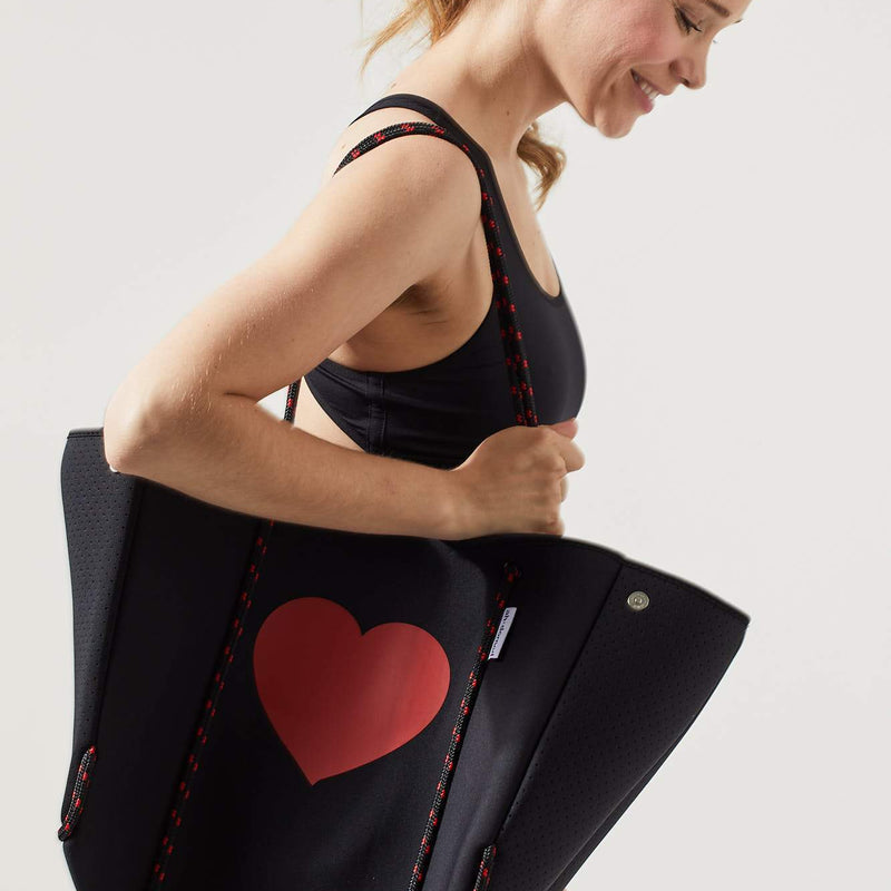 Black Neoprene Tote with Red Heart