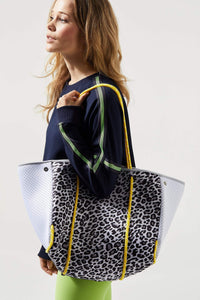 Leopard Front Tote with White Perforated Sides and Neon Yellow Straps
