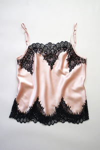 Blush Silk and Black Lace Camisole