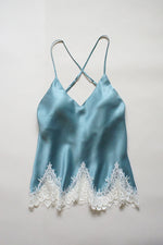 Stonewash Blue Silk and Ivory Lace Camisole