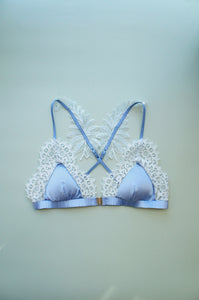 Size S-M Periwinkle silk and Blue Lace Bralette