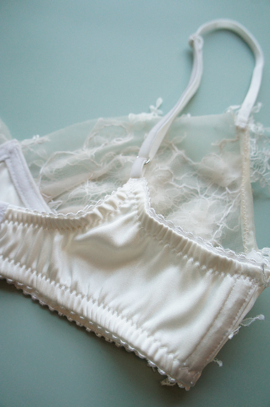 Size S Ivory Silk and Appliqué Lace Bralette
