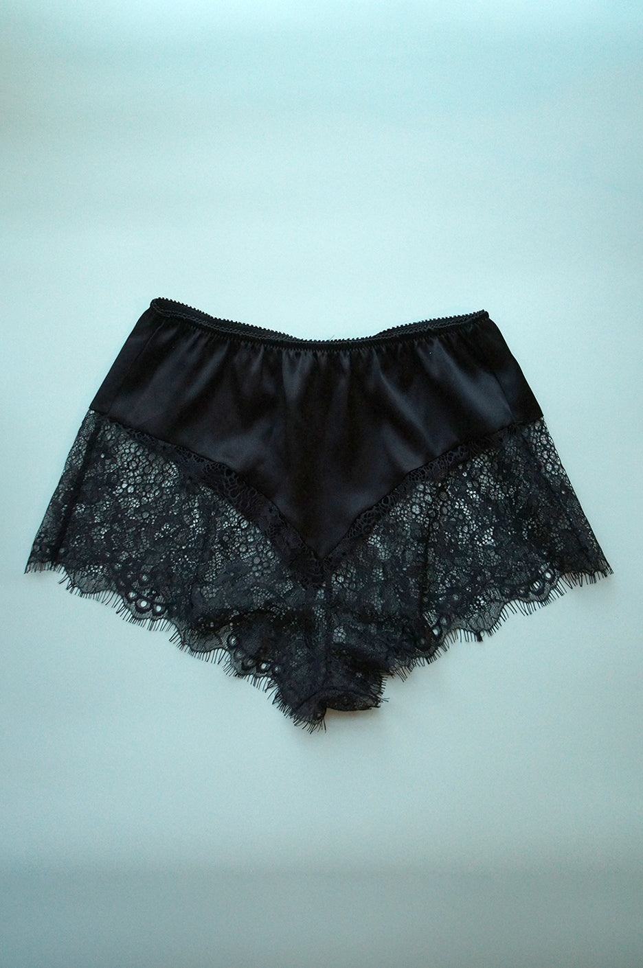 Size S Black Silk and Lace French Knicker