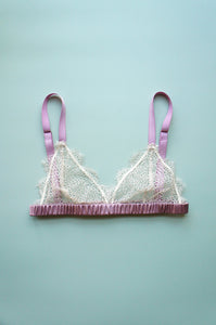 Size XS Dotted Lace Bralette Ivory and Orchid