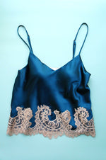 Size S Teal Stretch Silk Camisole with Beige Appliqué Trim