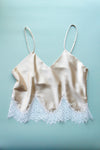 Size M Champagne Silk and Ivory Lace Cropped Camisole