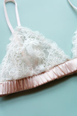 Size XS Blush Silk and Ivory Lace Bralette