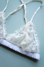 Size XS Mist Blue Silk and Ivory Lace Bralette