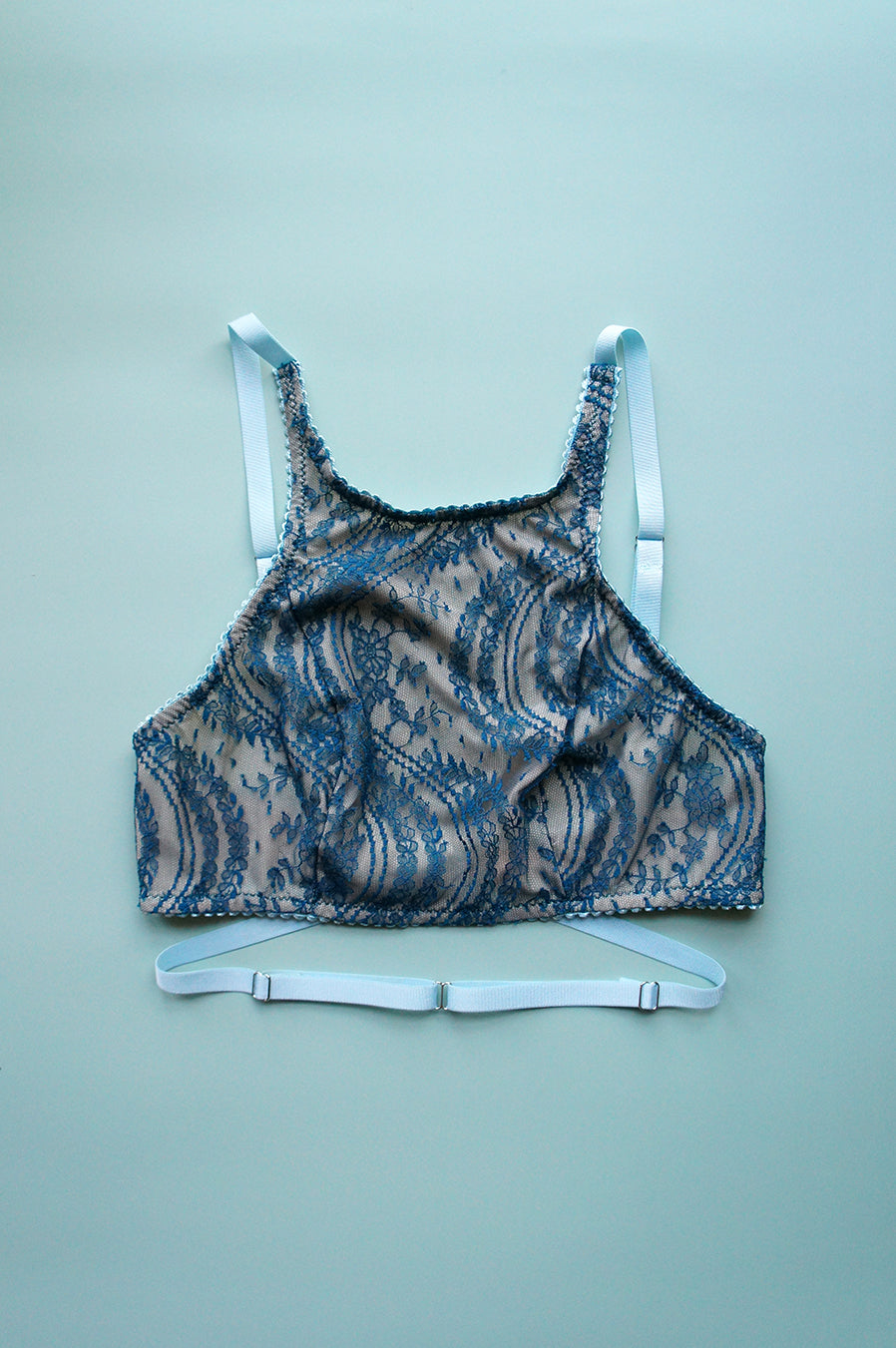 Size XS Teal Lace High Neck Bra Top