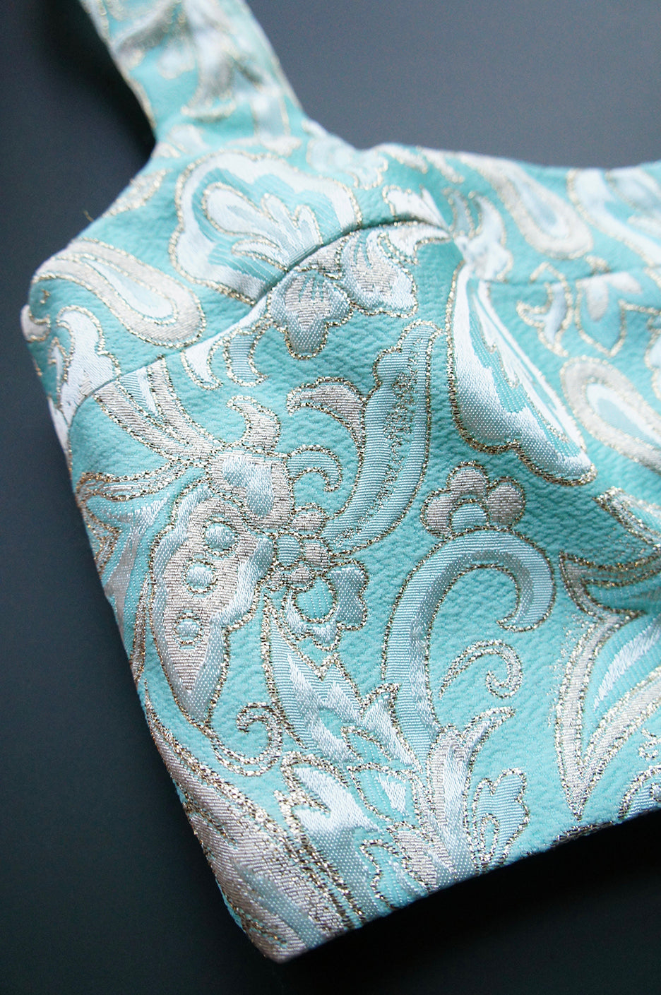 Size S/M Mint Brocade Cropped Bra Top
