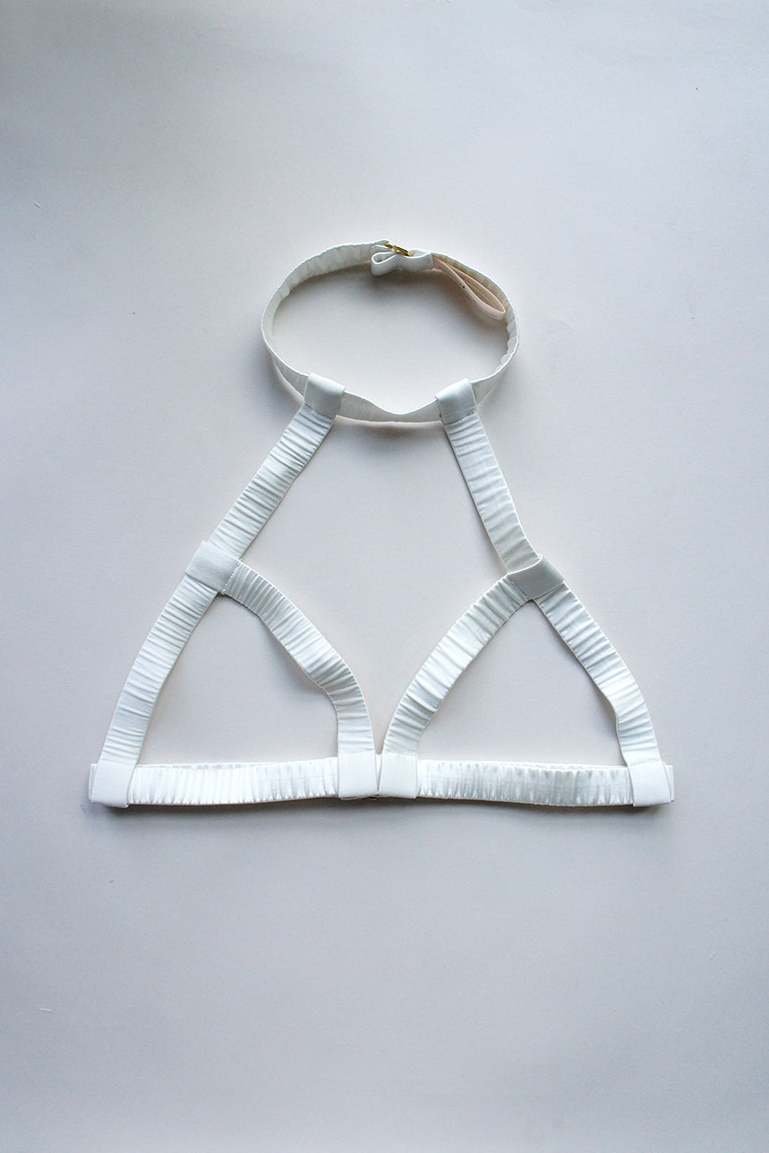 Elektra Caged Bralette Off White Silk