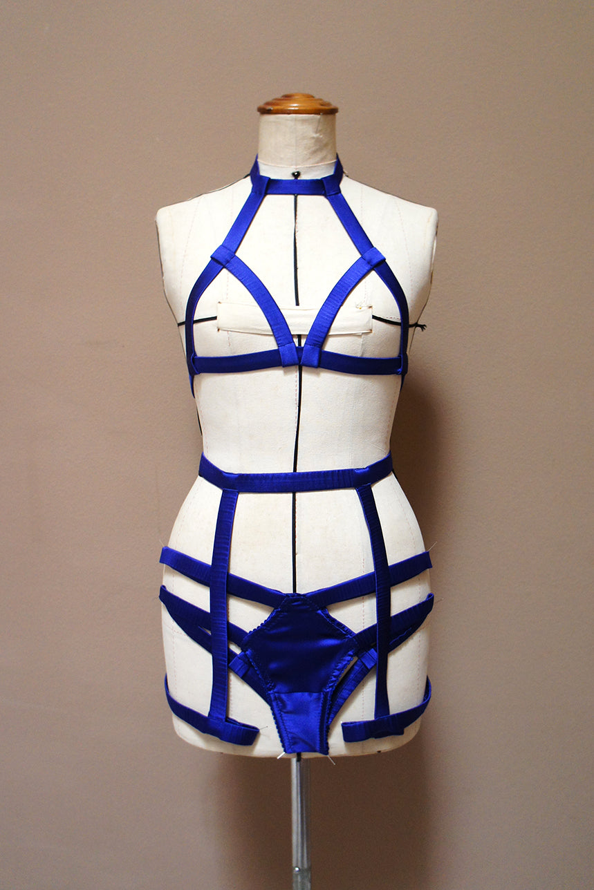 Elektra Caged Garter Blue Silk