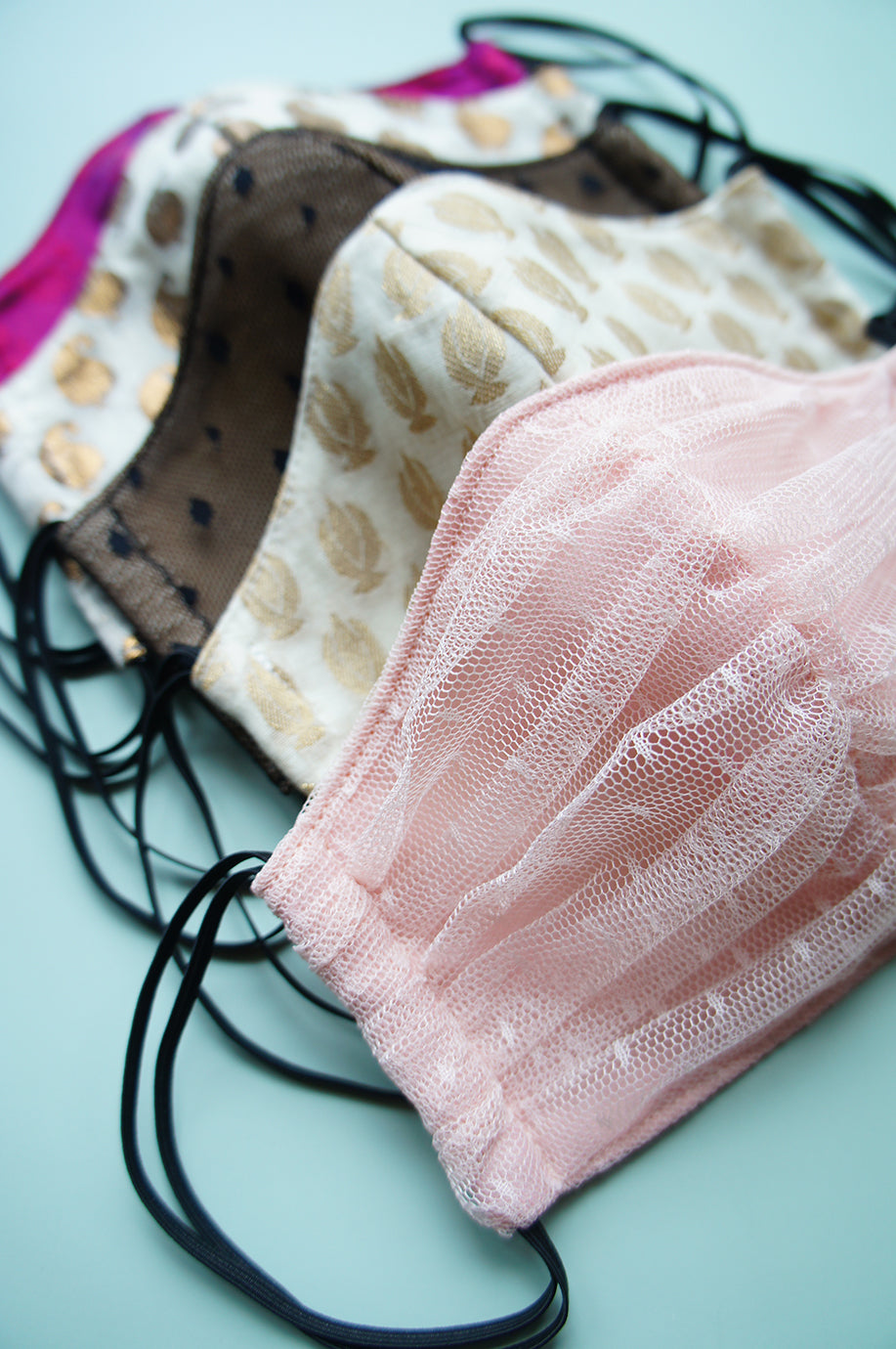 Pink Dotted Mesh Fabric Face Mask