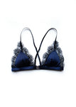 Sophie Navy Silk and Lace Bralette