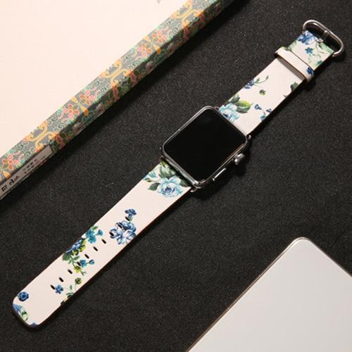 Colorful Flower Printing Leather Strap For All Apple Watch Series (5/4/3/2/1) - Multiple Designs
