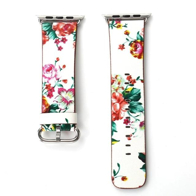 Floral Printing Flower Leather Watchband Wrist Strap For All Apple Watch Series - Multiple Designs