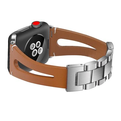 Genuine Leather Link Bracelet Wristband Watch Strap For All Apple Watch Series