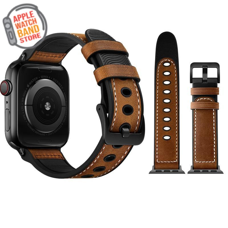 Genuine Leather + Silicone Wristband Strap For All Apple Watch Series