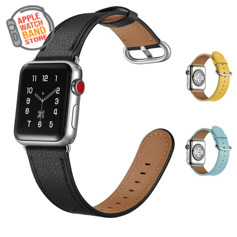 Genuine Leather Wrist Strap For All Apple Watch Series - 3 Colors