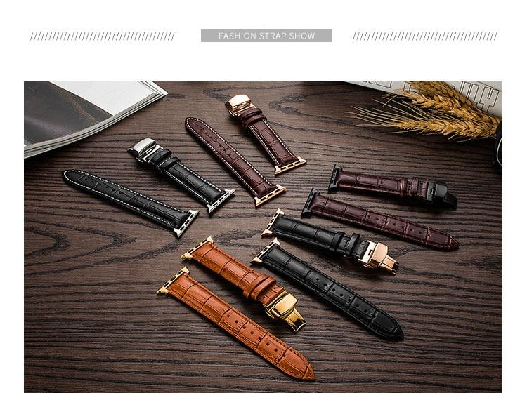 Leather Apple Watch Band With Butterfly Buckle For All Apple Watch Series (38mm/40mm And 42mm/44mm)